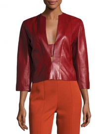 Plongé Leather Split-Neck Top at Last Call