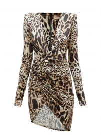 Plunge-neck lynx-print jersey mini dress at Matches