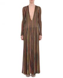 Plunging Long-Sleeve Metallic Striped Long Dress by Missoni at Bergdorf Goodman