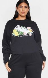 Plus Bed of Roses Slogan Sweater  at Pretty Little Thing