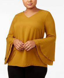 Plus Bell-Sleeve Blouse by Alfani at Macys