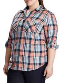 Plus Relaxed-Fit Plaid Cotton Button-Down Shirt at Lord and Taylor
