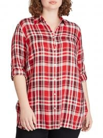 Plus Relaxed-Fit Plaid Twill Button-Down Shirt at Lord and Taylor