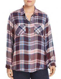 Plus Size Button Up Plaid Shirt at Amazon