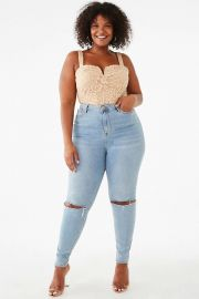 Plus Size Floral Lace Bodysuit at Forever 21