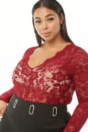 Plus Size Floral Lace Bodysuit by Forever 21 at Forever 21