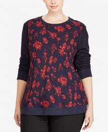 Plus Size Floral-Print Sweatshirt by Ralph Lauren at Macys