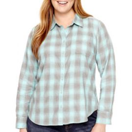 Plus Size Long-Sleeve Brushed Twill Plaid Shirt at JC Penney