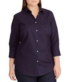 Plus Size No-Iron Button Down Shirt at Dillards