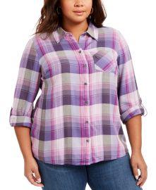 Plus Size Plaid Button-Front Shirt at Macys
