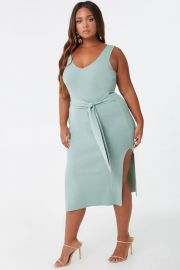 Plus Size Ribbed Self-Tie Dress by Forever 21 at Forever 21