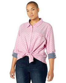 Plus-Size Roll Tab Button Down Shirt at Amazon