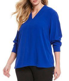 Plus Size Silk Georgette Crepe V-Neck Long Sleeve Top at Dillards