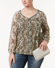 Plus Size Snake-Print Peasant Top by INC International Concepts at Macys