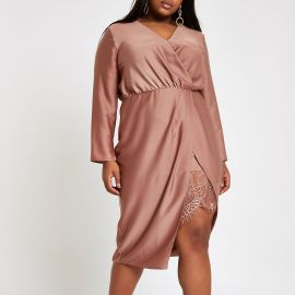 Plus Wrap Front Waisted Midi Dress by River Island at River Island