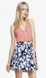 Pocket and Zip Crepe Front Tank at Express