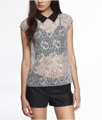 Point Collar Embroidered Top at Express