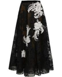 Point Desprit Tulle And Corded Lace Midi Skirt Marchesa at Moda Operandi