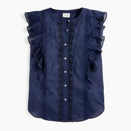 Point Sur sleeveless embroidered flutter top by J. Crew at J. Crew
