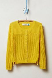 Pointelle Cable Cardigan in Gold from Anthropologie at Anthropologie