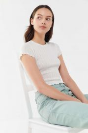 Pointelle Lettuce-Edge Baby Tee at Urban Outfitters