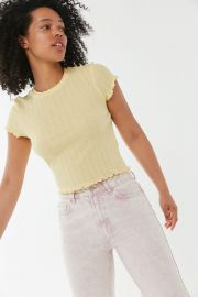 Pointelle Lettuce-Edge Baby Tee by Urban Outfitters at Urban Outfitters