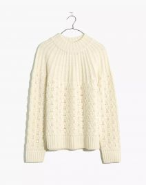 Pointelle Stitch-Mix Mockneck Sweater at Madewell