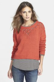Pointelle Yoke Crop Sweater at Nordstrom Rack