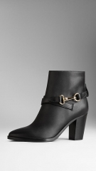 Polished Metal Buckle Ankle Boots at Burberry