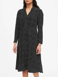 Polka Dot Tie-Neck Dress at Banana Republic