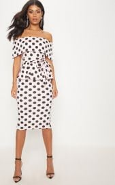 Polka Dot Bardot Peplum Midi Dress Pretty Little Thing at Pretty Little Thing