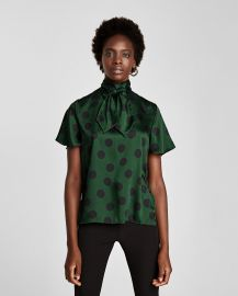 Polka Dot Blouse with Bow at Zara