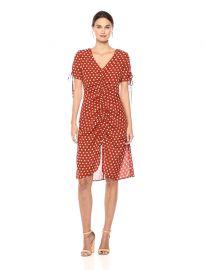 Polka Dot Short Sleeve V Neck Ruched Midi Dress by J.O.A. at Amazon