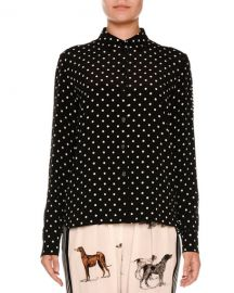 Polka Dot Silk Blouse w Striped Back at Neiman Marcus
