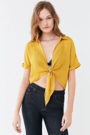 Polka Dot Tie-Front Top by Urban Outfitters at Urban Outfitters