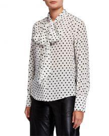 Polka Dot Tie-Neck Long-Sleeve Silk Blouse at Bergdorf Goodman