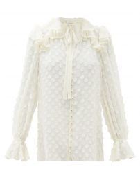 Polka-dot flounced-georgette blouse at Matches