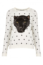Polka dot panther sweatshirt at Topshop