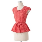 Polka dot peplum blouse by LC Lauren Conrad at Kohls