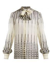Polka dot-print pussy-bow silk blouse at Matches