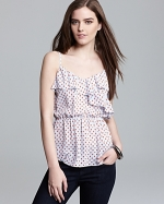 Polka dot ruffle tank by PJK at Bloomingdales