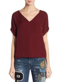 Polo Ralph Lauren - Emerson Silk V-Neck Top at Saks Fifth Avenue