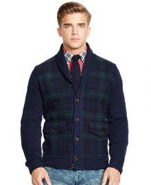 Polo Ralph Lauren Tartan Shawl Cardigan Sweater at Macys