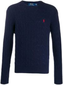Polo Ralph Lauren cable knit logo jumper cable knit logo jumper at Farfetch