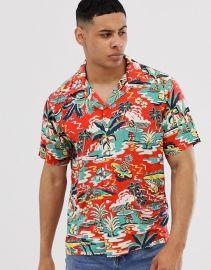 Polo Ralph Lauren surf print hawaiian print short sleeve pockets shirt in red at ASOS
