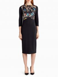 Ponte Floral Long Sleeve Day Dress by Jason Wu at Orchid Mile