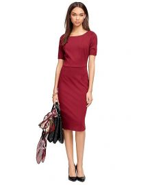 Ponte Knit Dress in Wine at Brooks Brothers