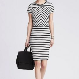 Ponte Stripe Dress by Banana Republic at Banana Republic