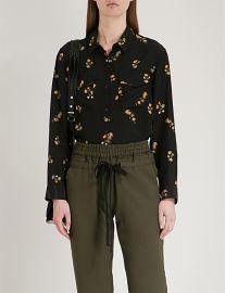 Popcorn flower-Print Silk Shirt by The Kooples at Selfridges