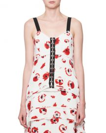Poppy-Print Hook-Front Camisole Top at Bergdorf Goodman